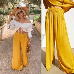 ZARA NEW WOMAN FLOWING WIDE-LEG TROUSERS LONG PANT